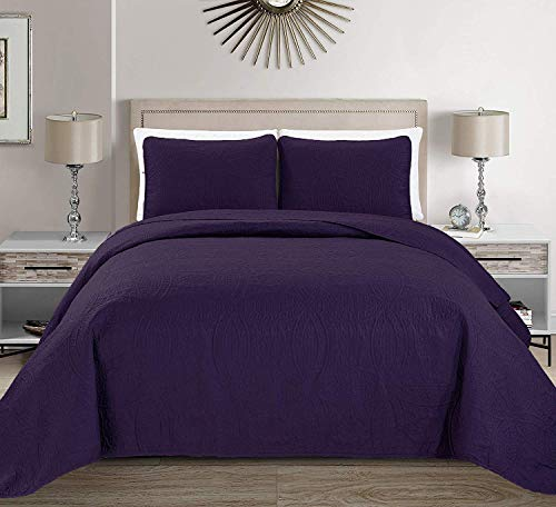 MK Home 2 pieces Twin/ Twin Extra Long Size Solid Dark Purple Embossed Bedspread Cover 68'x 90' New