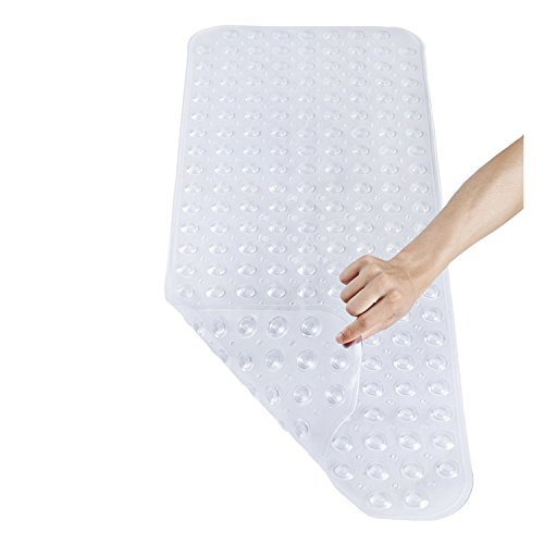 Pinzz Vinyl Non-Slip Bathtub Mat Anti-Bacterial Shower Mat,Extra Long,100*40CM/16'*38', Powerful Suction Cup Gripping,Machine Washable, BPA Free, Non-Toxic, Phthalate free, Latex Free(Clear)
