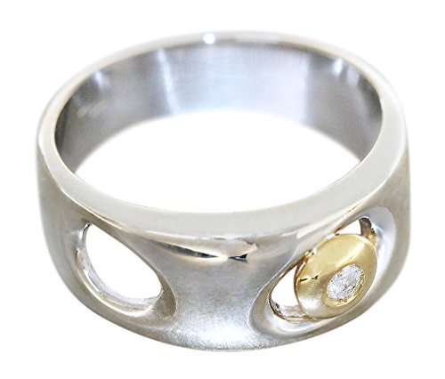 Edler Ring Weißgold 585 - 14 karat Gold, Goldring mit 1 Brillant, bicolor Hobra-Gold