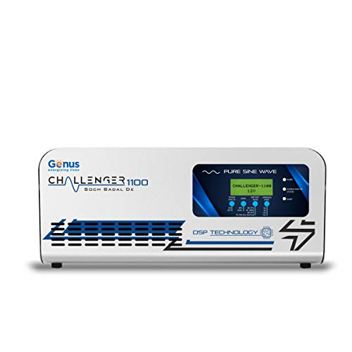 Genus Challenger 1100 | Modern Pure Sine Wave Home Inverter UPS with Dual LCD & LED Display Including A Unique Battery Revival Mode,Silver