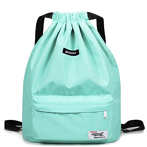 Drawstring Backpack String Bag Sackpack Cinch Water Resistant Nylon for Gym Shopping Sport Yoga by WANDF (Mint Green 6032)