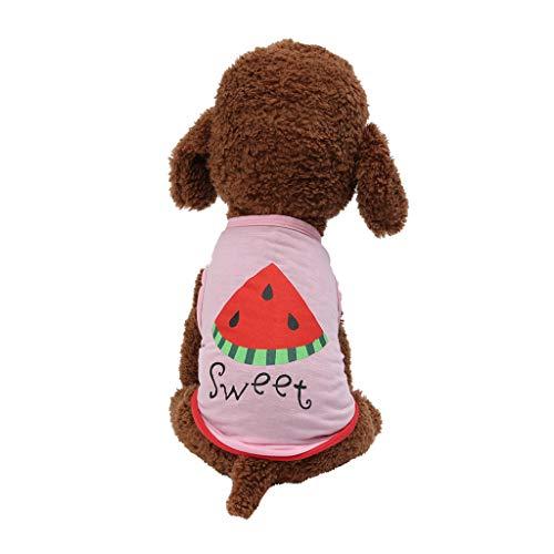 Liqiqi Camiseta de Verano para Mascotas con diseño de sandía, Transpirable, Chaleco para Cachorros, Disfraces, Ropa para Perros