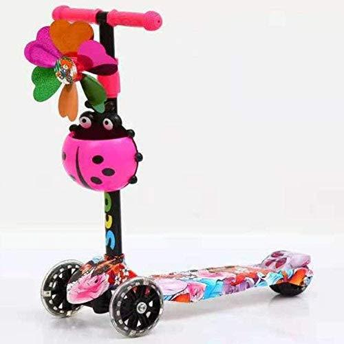 Bck Cartoon Seven Star Ladybug Kids Scooter Big Windmill 4 Wheel Tretroller 3-10 Jahre Alten Jungen oder Mädchen Leichtbau-Geschenk-Spielzeug Abnehmbarer LED-Licht-Up Räder höhenverstellbare Griff