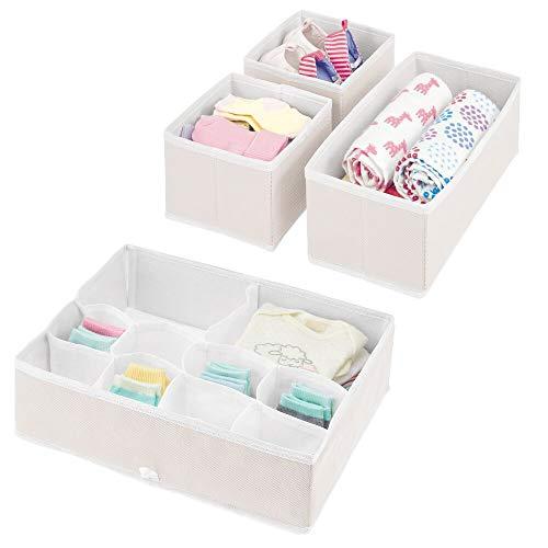 mDesign Cajas organizadoras para Cuarto Infantil – Elegantes cestas de Tela de Diferentes tamaños – Organizadores para armarios de Fibra sintética Transpirable – Juego de 4 – Crema/Blanco