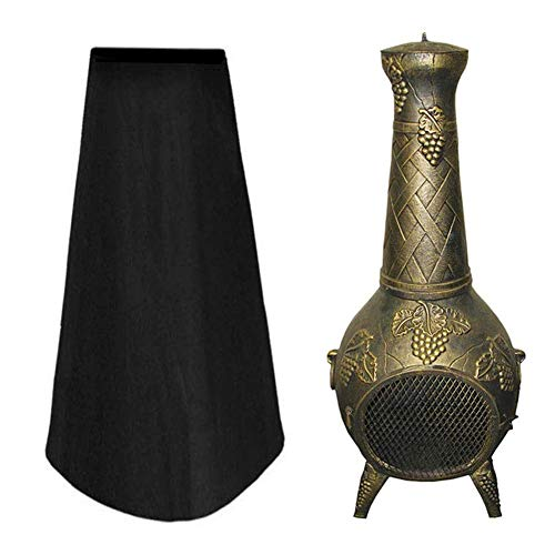 Outdoor Chiminea Cover Heavy Duty Garden Patio Heater Waterproof Protector Sun UV Fire Pit Covers 1.2m High (Black) (Color : Black)
