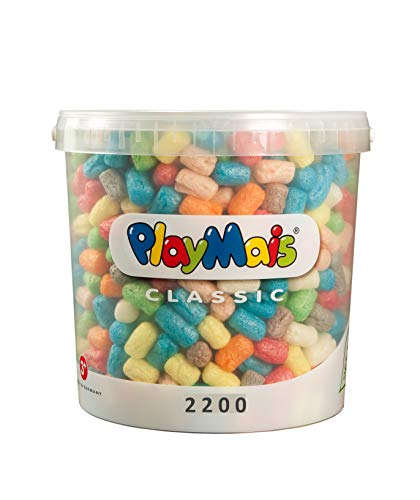 PlayMais Basic 2200 Bastelset für Kinder ab 3 Jahren | Basteleimer mit über 2200 Stück zum Basteln | Natürliches Spielzeug | Fördert Kreativität & Motorik | Geschenk für Mädchen & Jungen