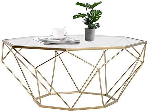 Zijtafel woonkamer Nordic Octagonal Goud Woonkamer Bijzettafel, Transparant Gehard Glas Decoratieve Bijzettafellade, Modern Home Design, een verscheidenheid