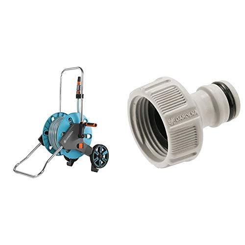 Gardena AquaRoll M Set: Schlauchwagen mit 20 m Classic-Schlauch und Spritze und Clipbefestigung zur Aufbewahrung & Hahnverbinder 26.5 mm (G 3/4 Zoll): Anschluss für Wasserhähne mit Gewinde