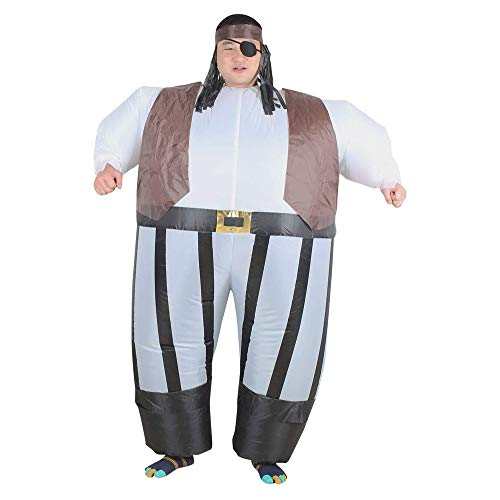 LYYAN Traje Inflable Pirata Disfraces Inflables Contiene Mscaras y Pelucas Adultos Halloween Carnaval Fancy Dress Blow Up Inflatable Costume Cosplay Fiesta Traje Inflable Regalo
