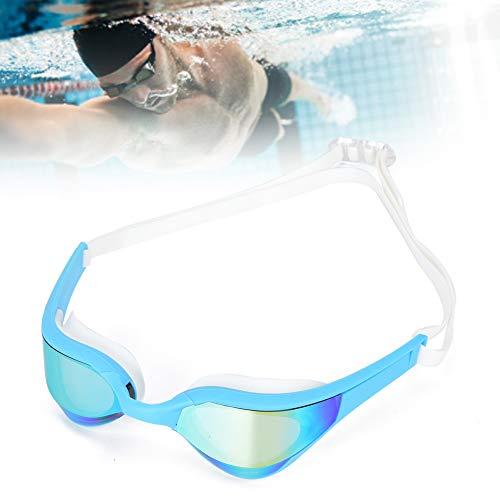 Gafas de natación Unisex para Adultos, cómodas Gafas de natación Material de Silicona Agradable a la Piel para Adultos para Nadar(Marco Azul Lago Plateado Azul, Tipo de Amor)