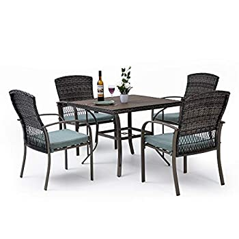 Pamapic 5 Piece Patio Dining Set Outdoor Dining Table Set Patio Wicker Furniture Set with Square Plastic-Wood Table Top and Washable Cushions for Patio Garden Poolside Green
