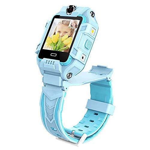 Rvlaugoaa Reloj inteligente para niños 4G Wifi GPS LBS Posicionamiento HD Video Call Cámara dual Niños Niñas Reloj Inteligente Un Clic SOS Motion Track Reloj Alarma Niños Impermeable Reloj Inteligente