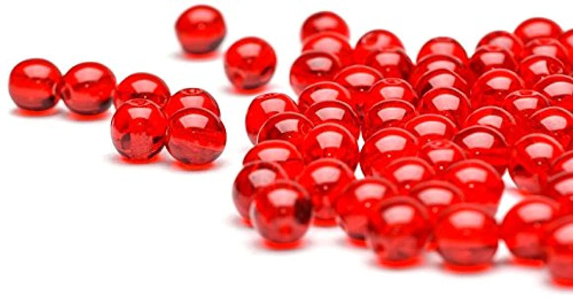 Beads Unlimited 6 mm Pressed Round Glass, Pack of 100, Red