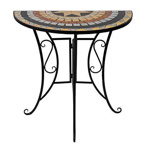 Wohaga® Mosaik Gartentisch halbrund 70x35cm Mosaiktisch Beistelltisch Bistrotisch Balkontisch Eisen Keramik