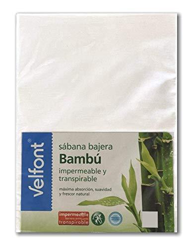 Velfont Sabana Bajera Bambu Impermeable y Transpirable Protector de colchon (90X190/200)