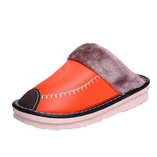 HDUFGJ Damen Winter Hausschuhe wasserdichte Leder Hausschuhe Dicke Baumwollschuhe Haushalt warme Hausschuhe Baumwolle Pantoffeln rutschfeste Plüsch39 EU(Orange)