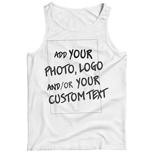 lepni.me Camisetas de Tirantes para Hombre Regalo Personalizado, Agregar Logotipo de la Compañía, Diseño Propio o Foto (Small Blanco Multicolor)