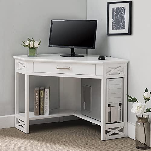 KD Furnishings White Wood Corner Computer/Writing Desk