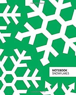 Notebook Snowflakes: (Christmas Deep Green Edition) Fun notebook 192 ruled/lined pages (8x10 inches / 20.3x25.4 cm / Large...