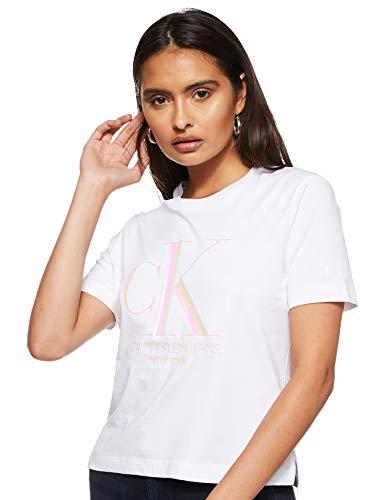 Calvin Klein Jeans Damen Iridescent Ck Straight Tee T-Shirt, Weiß (Bright White Yaf), 40 (Herstellergröße: X-Large)