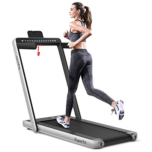 Goplus 2 in 1 Folding Treadmill, 2.25HP Under Desk Electric Treadmill, Installation-Free, with Dual Display, Bluetooth Speaker, Remote Control, APP Control, Walking Jogging Machine for Home/Office Use