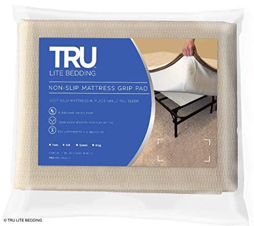 TRU Lite Bedding Non Slip Mattress Pad - Grip Pad Locks in Place - Non Slip Mat fits Platform or Futon Mattresses - Queen Size - Rug Gripper for 5' x 7' Rug