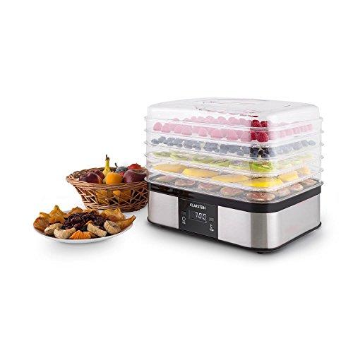 Klarstein Valle di Frutta - Deshidratadora, Desecadora, Secadora de Frutas, 5 Pisos, 250 W, Temperatura Regulable, Temporizador, Pantalla LCD, Panel de 2 Botones, Bandeja Fina, Plateado