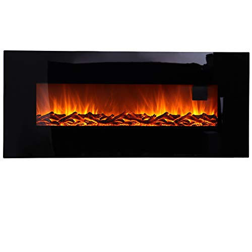 Wall Mounted Electric Fireplace, 50 inch Electric Fire Stove Heater Suites with Fire Flame Effect, Black Flat Glass, Adjustable Thermostat Remote Control, 220/240Vac50Hz, 1280x140x551mm