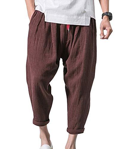 HX fashion Sommerhosen Herren Bequeme Leichte Freizeithose Viele Taschen Weite Bequeme Größen Leinenhose Caprihose Männer Nner Kleidung (Color : Kaffee, Size : M-Waist:70-73CM)