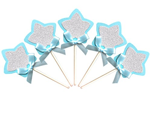 21-pac Blue and Silver Star Cupcake Toppers Picks, Glitter Star Cake Toppers, Baby Boys Shower Birthday Party Wedding Cake Decoration Supplies