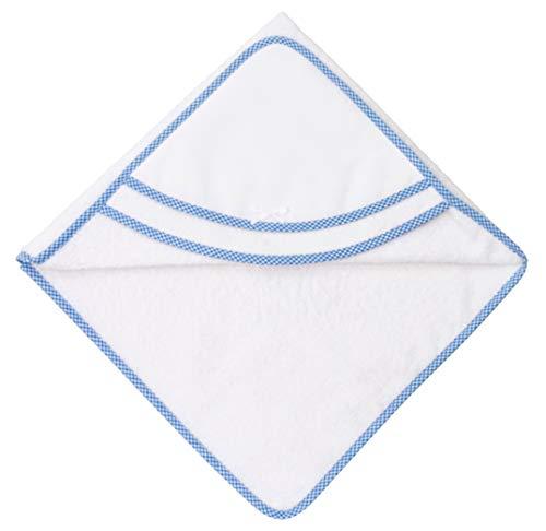 Filet - Accappatoio Triangolo | Per Neonati e Prima Infanzia | Con Taschina a Forma di Cuore in Tela Aida da Ricamare - Bianco, Azzurro