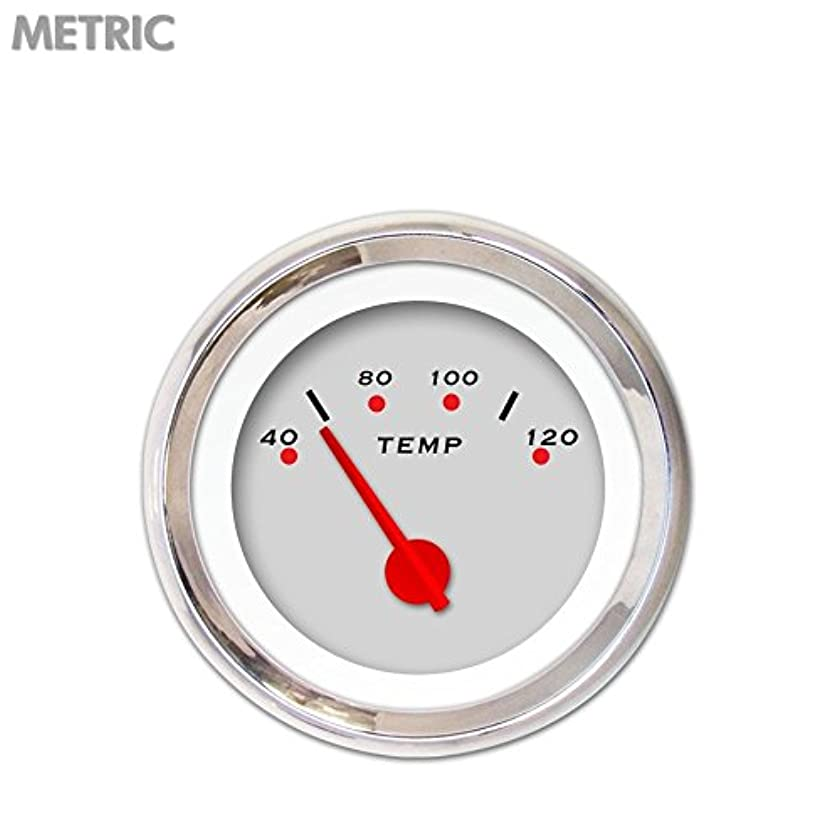 Aurora Instruments 5021 Pegged Ash Metric Water Temperature Gauge (Red Modern Needles, Chrome Trim Rings, Style Kit Installed)