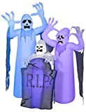 Halloween Inflatable Ghost Trio with Tombstone Short Circuit Flickering Airblown Yard Decor 6' Tall
