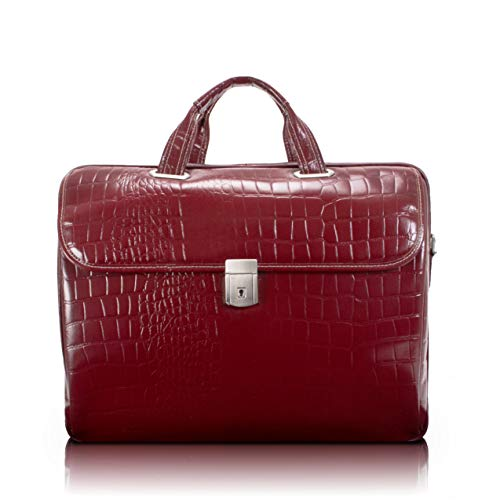 """Siamod, Monterosso, SETTEMBRE, Embossed Crocco Leather, 15"""" Leather Medium Ladies Laptop Briefcase, Cherry Red (35526)"""