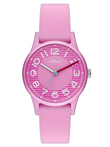 s.Oliver Damen Analog Quarz Uhr mit Silikon Armband SO-3515-PQ