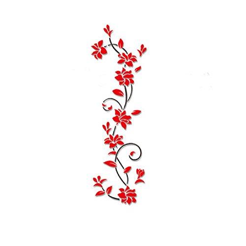 BakeLIN 3D Blumen Wandaufkleber kühlschrank aufkleber Dekoration DIY Wand Aufkleber Wohnzimmer Küche Schlafzimmer moderne Hintergrund TV Decor (Rot)