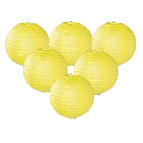 Easy Joy Lanterne Papier Jaune Decoration 12pcs 30 cm Lampion Chinois Abat-Jour en Papier Boule pour Décoration de Mariage, Maison, Fête, Anniversaire
