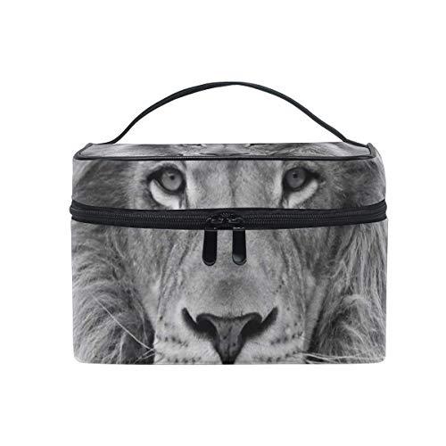 Trousse de maquillage Lion noir et blanc beau sac cosmétique grand sac de toilette portable pour les femmes/filles voyage