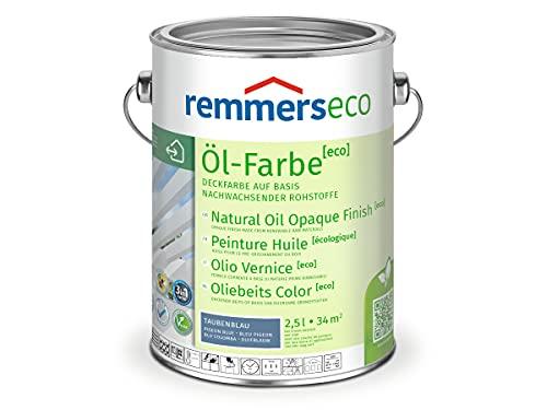 Remmers Öl-Farbe [eco] taubenblau (RAL 5014), 2,5 Liter, wasserbasierte Öko Farbe für Holz innen und außen, 3 Öko Farben in einem, Isoliergrund, Zwischen- und Schlussbeschichtung, umweltfreundlich