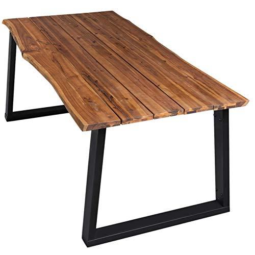 Tidyard Esstisch Holztisch Terrassentisch Gartentisch Gartenmöbel Tisch mit Naturkante170x90x75 cm Massivholz Akazie