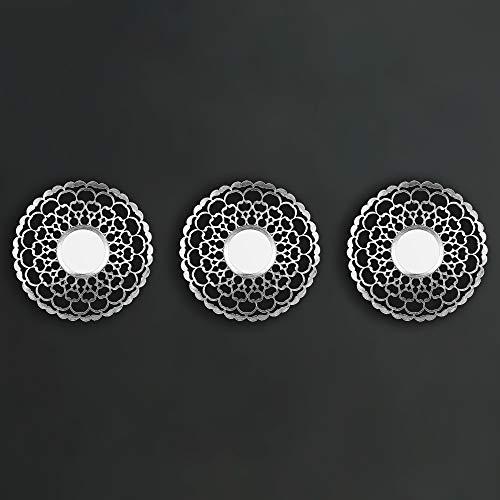 HomeZone 3pc Shabby Chic Rund Sunburst Wandspiegel in Gold oder Silber, Dekorative Wandmontage Shabby Chic Heim Dekoration - Silber Marokkanische