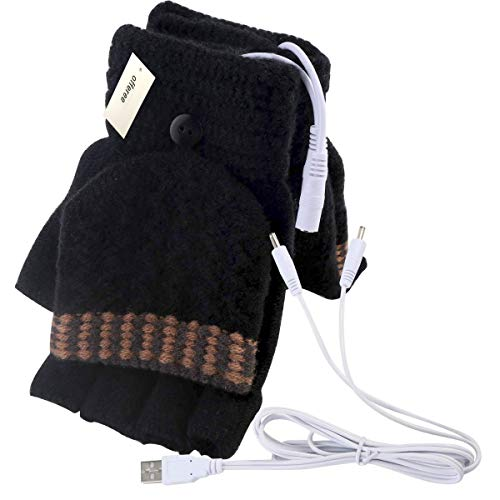 Offeree USB Heated Gloves Mitten for Women Men full and half hands warm laptop gloves with double-sided heating for indoor or outdoor winter usb powered knitting hands warmer (Black)