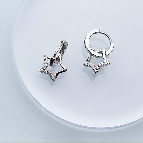 Generic Brands Pendientes Pendientes de aro redondo de plata de ley 925 con circonita y colgante de estrella para mujer