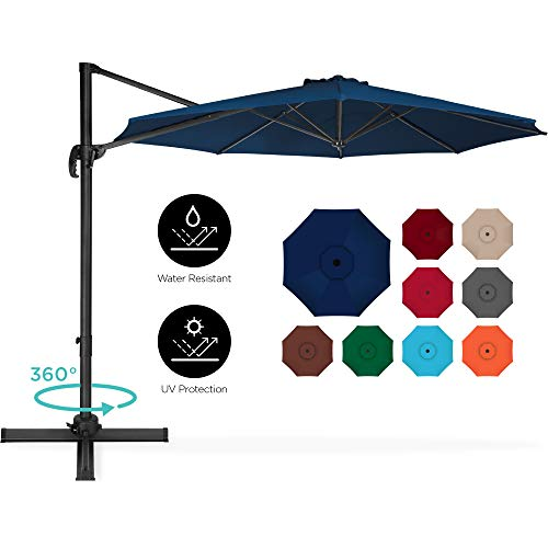 Best Choice Products 10ft 360-Degree Rotating Cantilever Offset Hanging Market Patio Umbrella w/Easy Tilt - Navy Blue