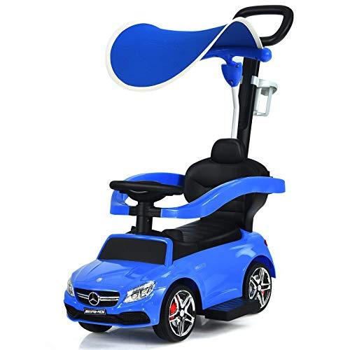 Coche de juguete 3 en 1 Paseo en Push Car, con licencia Mercedes Slider Slider Walker con asa parental, barrera de seguridad, dosel de sol, espacio de almacenamiento, bocina de música, cochecito de be
