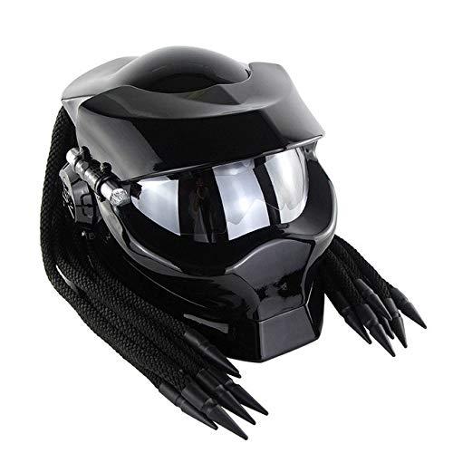 MYSdd Helm Vintage Schwarz Motorradhelm Silber Visier Quick Release Buckle Erhältlich ganzjährig, EPS und Pu-Leder Futter - Shiny Black X XL X