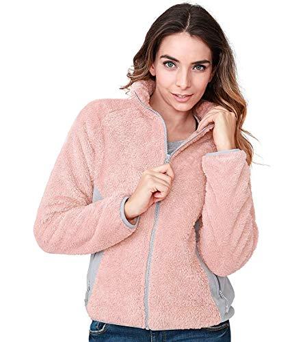 CAMEL CROWN Damen Fleecejacke mit Reißverschluss Winddicht Warm Leichte Fleece Jacke Damen Sweatjacke Damenjacke für Wandern und Freizeit