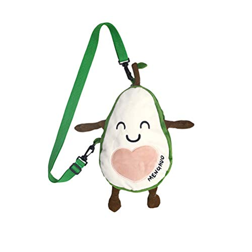 Knowooh Damen Schultertasche Umhängetasche Niedlich Plüsch Avocado Messenger Bag Umhängetasche Stilvoll Crossbody Bag Münzbeutel für Reise