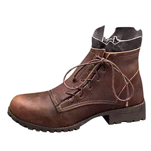 Damen Ankle Stiefel Fashion Womens Flats Round Toe rutschfeste Freizeitschuhe mit niedrigen Absätzen Schnürstiefeletten Täglich Wild Basic Ausgehen Dating Pendeln Schuhe(Braun,35)