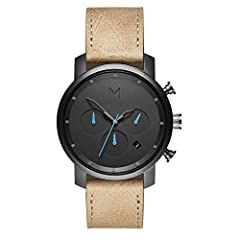 MVMT Chrono is a minimalist take on a classic timepiece; this watch has a main dial and three subdials for a 24-hour clock, a 30-minute timer, and a 60-second timer; movement is battery-powered 6-hand chronograph with date Sandstone-colored strap is ...